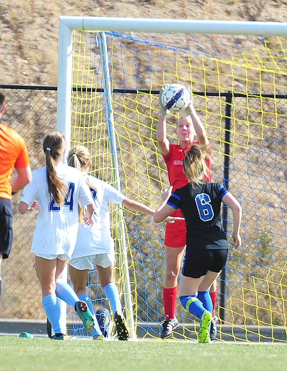 Embry Riddle's Caitlyn Aaron makes a save in goal as the Eagles take on Hope International in the first round of the NAIA National Championship Tournament in Prescott Saturday, November 17, 2018. (Les Stukenberg/Courier).