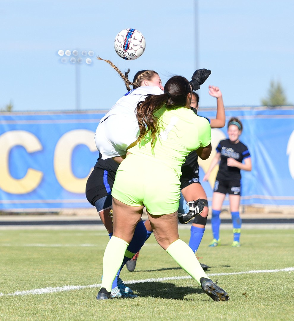 Embry Riddle's Breanna Larkin gets physical in the box as the Eagles take on Hope International in the first round of the NAIA National Championship Tournament in Prescott Saturday, November 17, 2018. (Les Stukenberg/Courier).