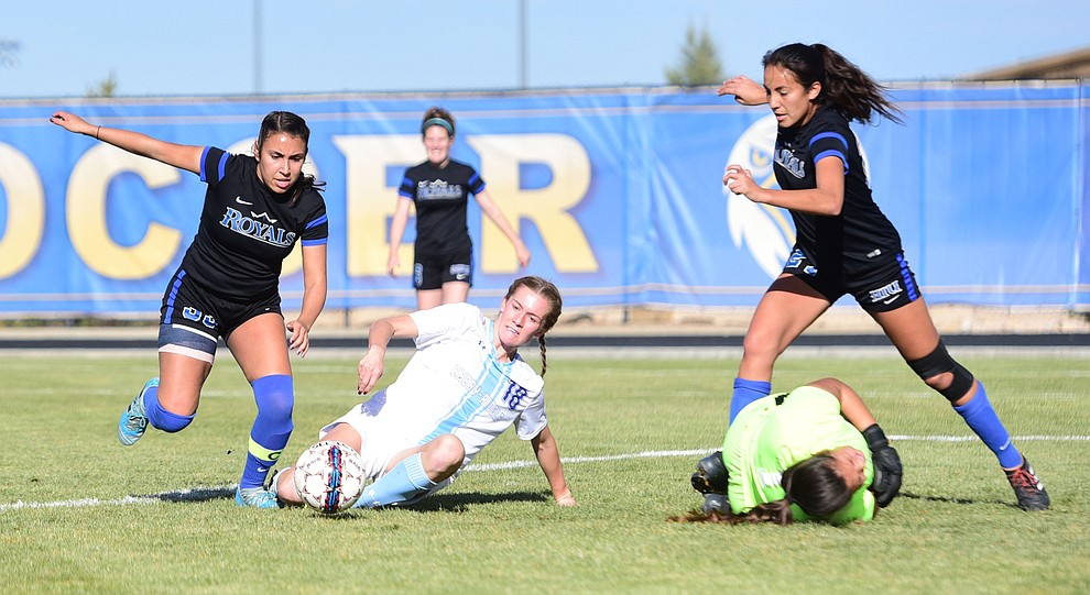 Embry Riddle's Breanna Larkin tries to score in the box as the Eagles take on Hope International in the first round of the NAIA National Championship Tournament in Prescott Saturday, November 17, 2018. (Les Stukenberg/Courier).