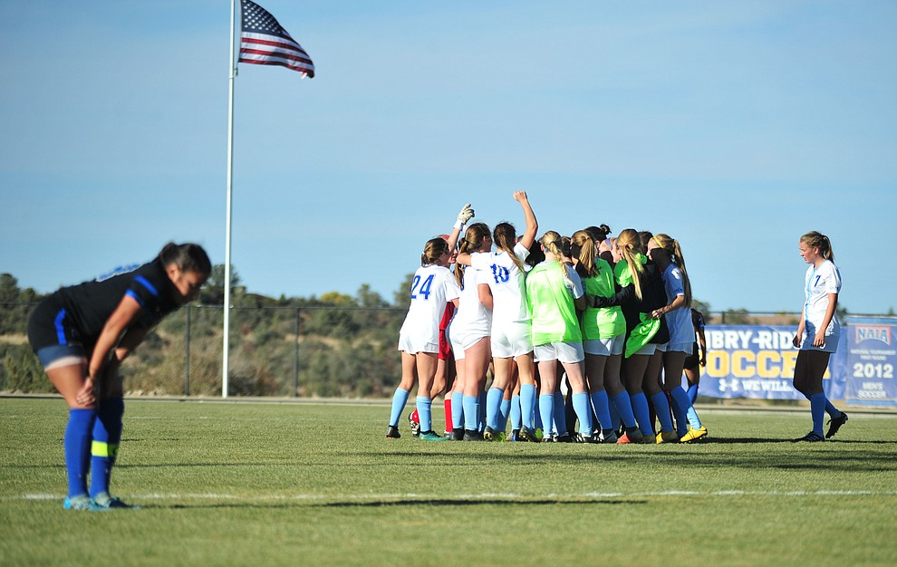 Embry Riddle players celebrate Krista Lee's overtime goal as the Eagles beat Hope International in the first round of the NAIA National Championship Tournament in Prescott Saturday, November 17, 2018. (Les Stukenberg/Courier).