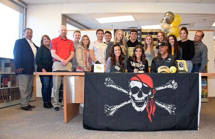 Mingus senior Maddie Bejarano signed with UCF softball on Thursday afternoon in the MUHS library in a ceremony with friends and family. VVN/James Kelley