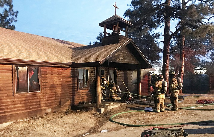 At approximately 6 a.m. Saturday, Nov. 17, 2018, the Prescott Fire Department arrived on scene and found a chapel meeting area fully engulfed in flames extending up into the trees. The building, which is estimated at 1,500 square feet and built in 1988, had no occupants inside. (PFD/Courtesy)