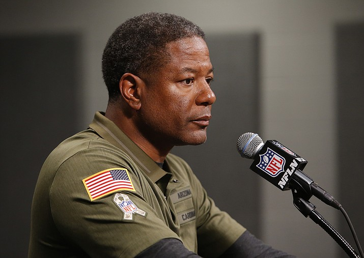 In this Nov. 18, 2018, file photo, Arizona Cardinals head coach Steve Wilks speaks after an NFL football game against the Oakland Raiders, in Glendale, Ariz. The Cardinals are reeling from their worst loss of a bad season, and the future doesn't look forgiving. (Rick Scuteri/AP, File)
