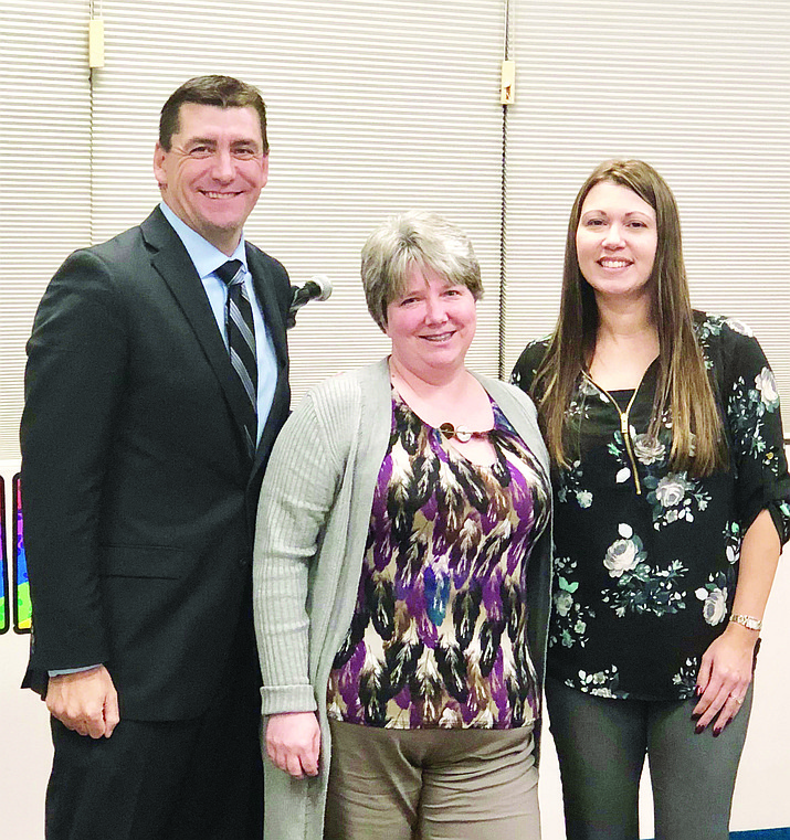 Superintendent Dan Streeter, Anastasia Brantley and Lake Valley Principal Aimee Fleming. (Courtesy)