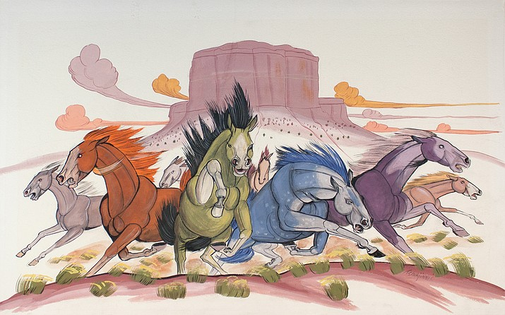 Andrew Tsihnahjinnie (Yazzie Bahe, 1916-2000, Navajo) Horse Stampede Tempera on paper, 1956 Gift of Clay Lockett Museum of Northern Arizona, C1160