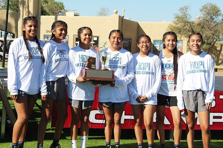 Hopi High girls show off second place trophy in Division 4. (Stan Bindell/NHO)