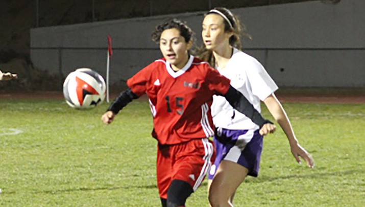 Maritza Saucedo (15) scored a goal in Lee Williams' 4-2 win over Lake Havasu Monday night. (Courtesy)