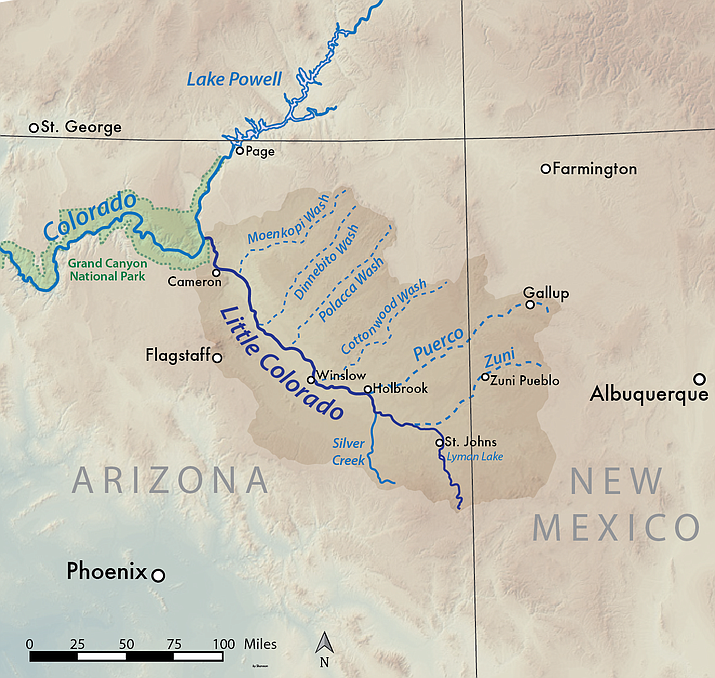 This map, made using USGS shaded relief data shows the Little Colorado River basin in Arizona and New Mexico. (Creative Commons/Wikimedia)