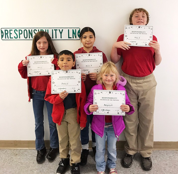 Heritage Elementary School recently announced its November Students of the Month. Recipients included kindergartner Adryana Ruiz, second grade student Jadiel Espinosa, fifth grade student Erin Lucus, sixth grade student Thor Foley and eighth grade student Rocio Ortiz. (Photo/Heritage School)