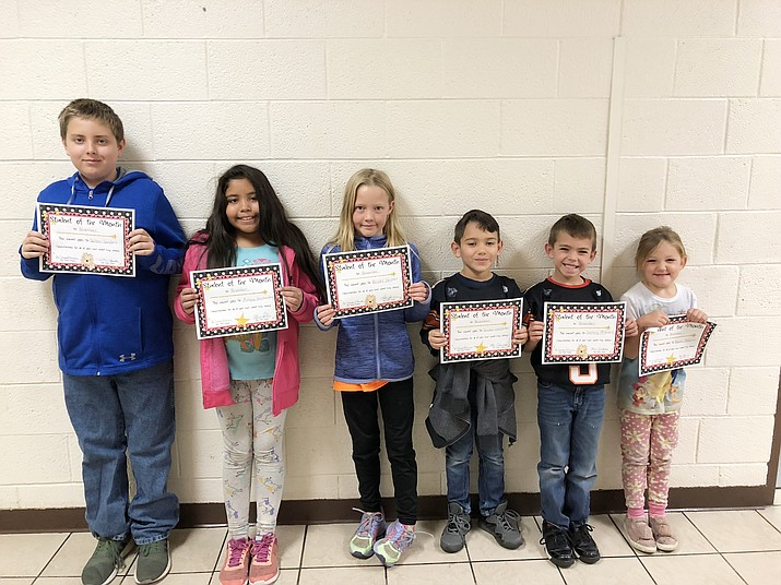 November Students of the Month include Delton Sanders, Mireya Hernandez, Bristol Skinner, Zayden Gonzales, Zachary Mitchell and Baylei McCarron. (Photo/Williams Elementary-Middle School)