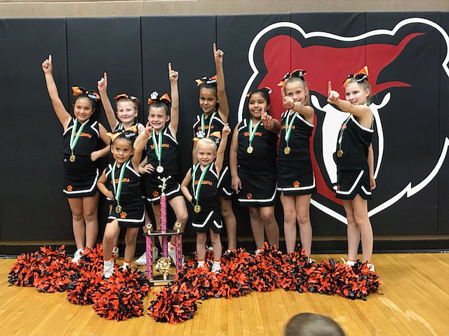 The Williams Youth Football Cheer squad recently came home with gold after competing in the Northern Arizona Youth Football Cheer Competition in Prescott. (Darcie Jensen/photo)