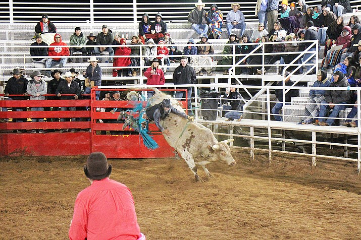 Andy Sells earns 5th place riding Little Big Man at the 18th annual Kenny Young's Bull Riding Classic Nov. 9-11. (Kyla Rivas/NHO)
