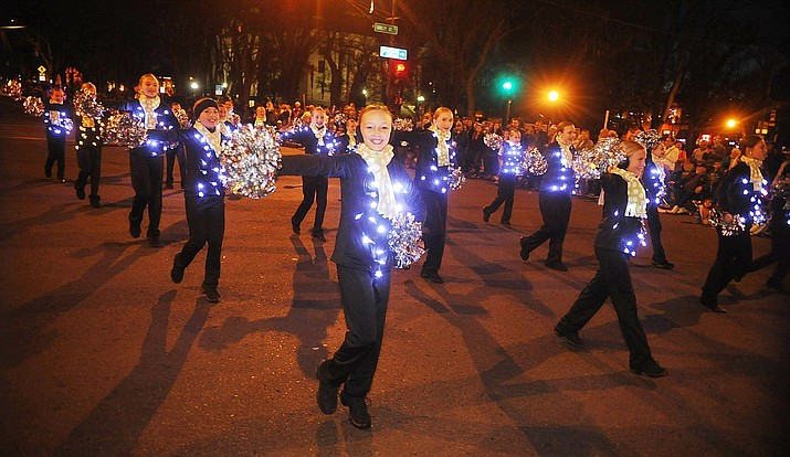 Prescott's 23rd Annual Holiday Light Parade will be held from 6 to 9 p.m on Saturday, Nov. 24, 2018 at Courthouse plaza, 120 S. Cortez St. Bonfire, entertainment and fun takes place after the parade at Mile High Middle School field. See www.prescottdowntown.com for more information. (2017 file photo by Les Stukenberg/Courier)
