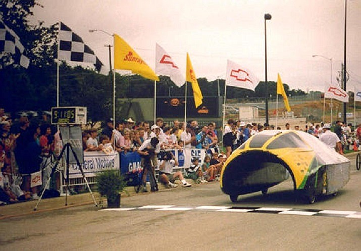 The Aurora I solar race car developed by the University of Minnesota in 1993 has been donated to the Route 66 Electric Vehicle Museum, along with the Aurora II that was built a year later. (Courtesy)
