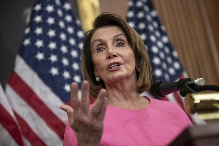 In this Nov. 7, 2018, file photo, House Minority Leader Nancy Pelosi, D-Calif., speaks in during a news conference on Capitol Hill in Washington. (AP Photo/J. Scott Applewhite, File)