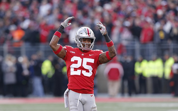 Ohio State defensive back Brendon White celebrates after making a tackle against Michigan during the second half of an NCAA college football game Saturday, Nov. 24, 2018, in Columbus, Ohio. Ohio State beat Michigan 62-39. (Jay LaPrete/AP)