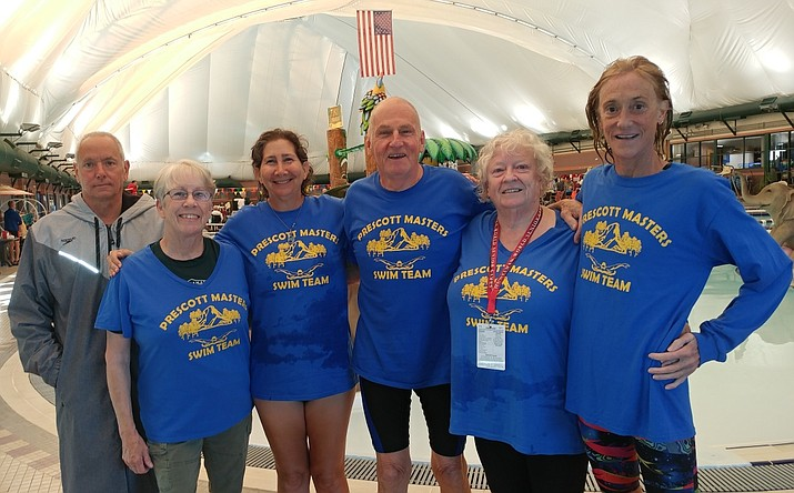 Members of the Prescott Masters swim team pose for a photo after an event at the Huntsman World Senior Games. (Courtesy)