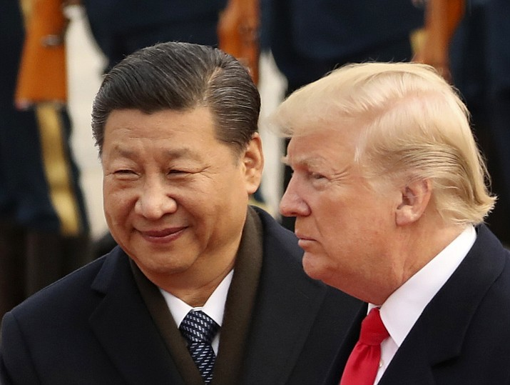 U.S. President Donald Trump and Chinese President Xi Jinping participate in a welcome ceremony Nov. 9, 2017, at the Great Hall of the People in Beijing, China. Trump is to meet with Xi at the Group of 20 summit in Buenos Aires, Argentina, on Friday, Nov. 30, and Saturday, Dec. 1. (Andrew Harnik/AP, File)