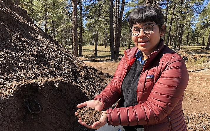 Gaby Galvan is Northern Arizona University's campus dining sustainability coordinator. At least 90 percent of NAU's dining hall food waste is composted, and eventual turned into dirt. (Photo by Bryce Newberry/Cronkite News)