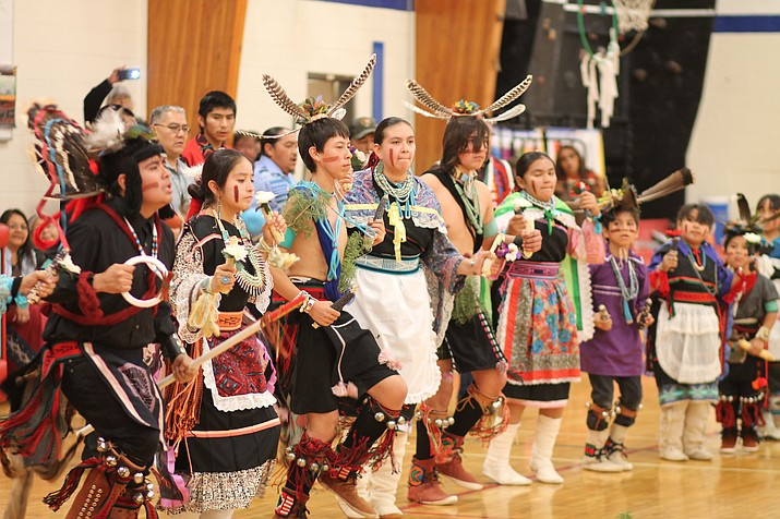 Youth perform a Havasupai social dance at Grand Canyon School Nov. 14.