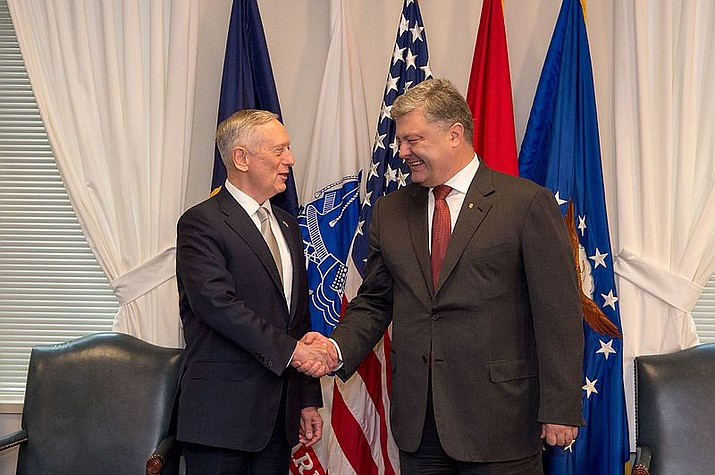 "U.S. Defense Secretary Jim Mattis meets with Ukraine's President Petro Poroshenko at the Pentagon in Washington, D.C., June 20, 2017. Ukraine's president on Monday urged parliament to impose martial law in the country to fight ""growing aggression from Russia,"" after a weekend naval confrontation off the disputed Crimean Peninsula in which Russia fired on and seized three Ukrainian vessels amid renewed tensions between the neighbors. (DOD photo by U.S. Army Sgt. Amber I. Smith)"