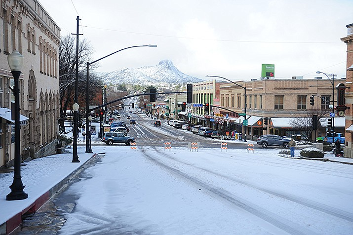 In this, Jan. 21, 2017 photo Gurley Street's Elks Hill was closed for safety reasons due to snow in downtown Prescott. (Les Stukenberg/Courier, file)