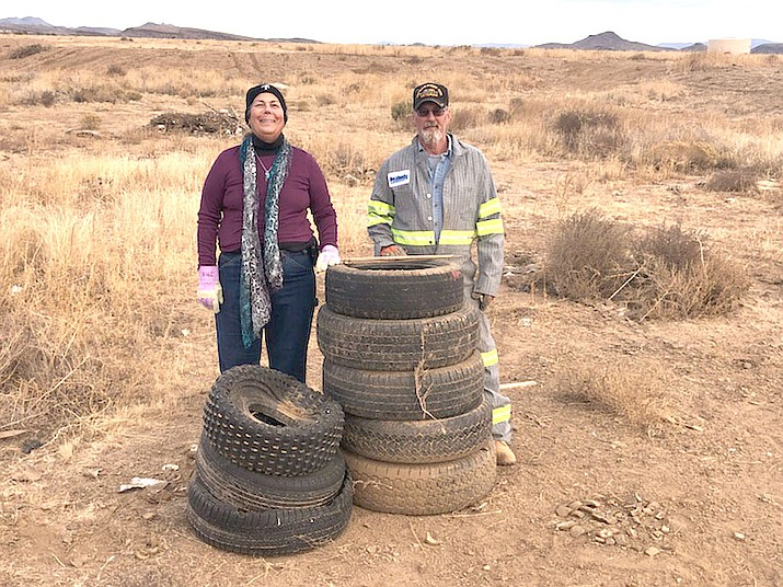 Rates for tire disposal at Cerbat Landfill will increase from $36.80 to $37.45 a ton in 2019, making it more expensive for volunteer citizen groups such as Cactus Cleaners in Golden Valley to remove old tires from the desert. (COURTESY)