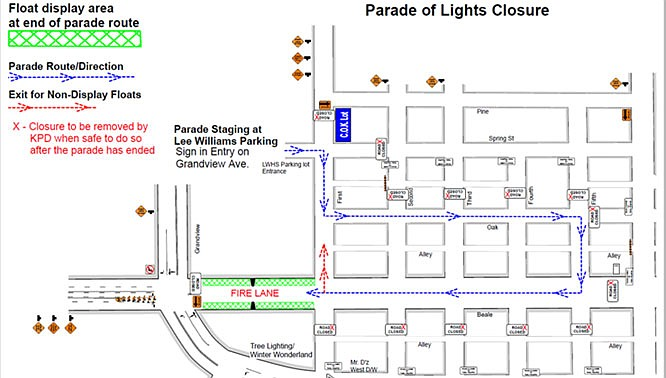 The parade route will be closed at 4:30 p.m., and there will be no parking along the route.