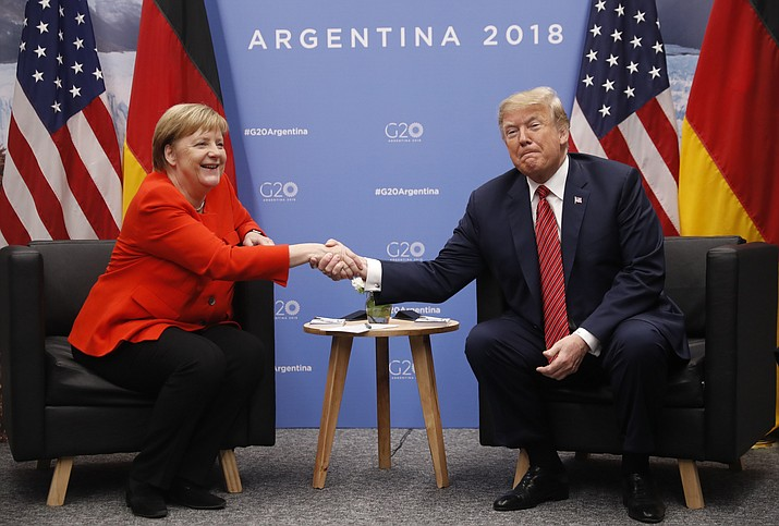 President Donald Trump meets with Germany's Chancellor Angela Merkel at the G20 Summit, Saturday, Dec. 1, 2018 in Buenos Aires, Argentina. (Pablo Martinez Monsivais/AP)