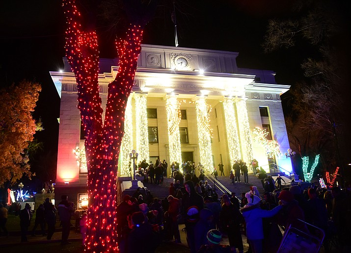 The lights come on as part of the 64th Annual Christmas Yavapai County Courthouse Lighting in downtown Prescott Satuday, Dec. 1, 2018. (Les Stukenberg/Courier).