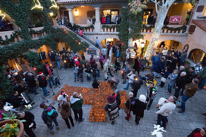 The Sedona Tree Lighting takes place in Tlaquepaque North, Friday, December 7th, 5 to 7 p.m. Photo courtesy of Wib Middleton
