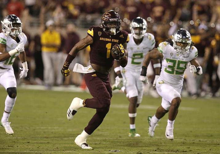 Arizona State wide receiver N'Keal Harry (1) in the second half during an NCAA college football game against Oregon, Saturday, Sept. 23, 2017, in Tempe, Ariz. Arizona State defeated Oregon 37-35. (Rick Scuteri/AP)