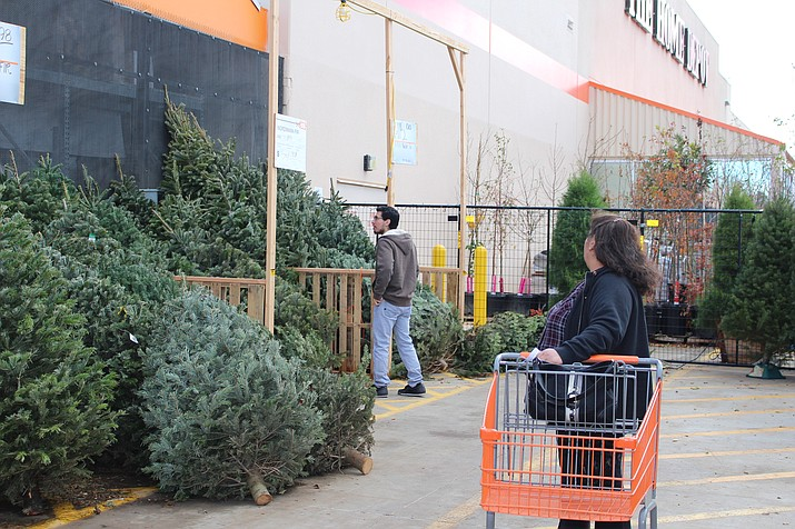 Brandon Garcia shops for the perfect Christmas tree with his mother at Home Depot. (Photo by Hubble Ray Smith/Daily Miner)