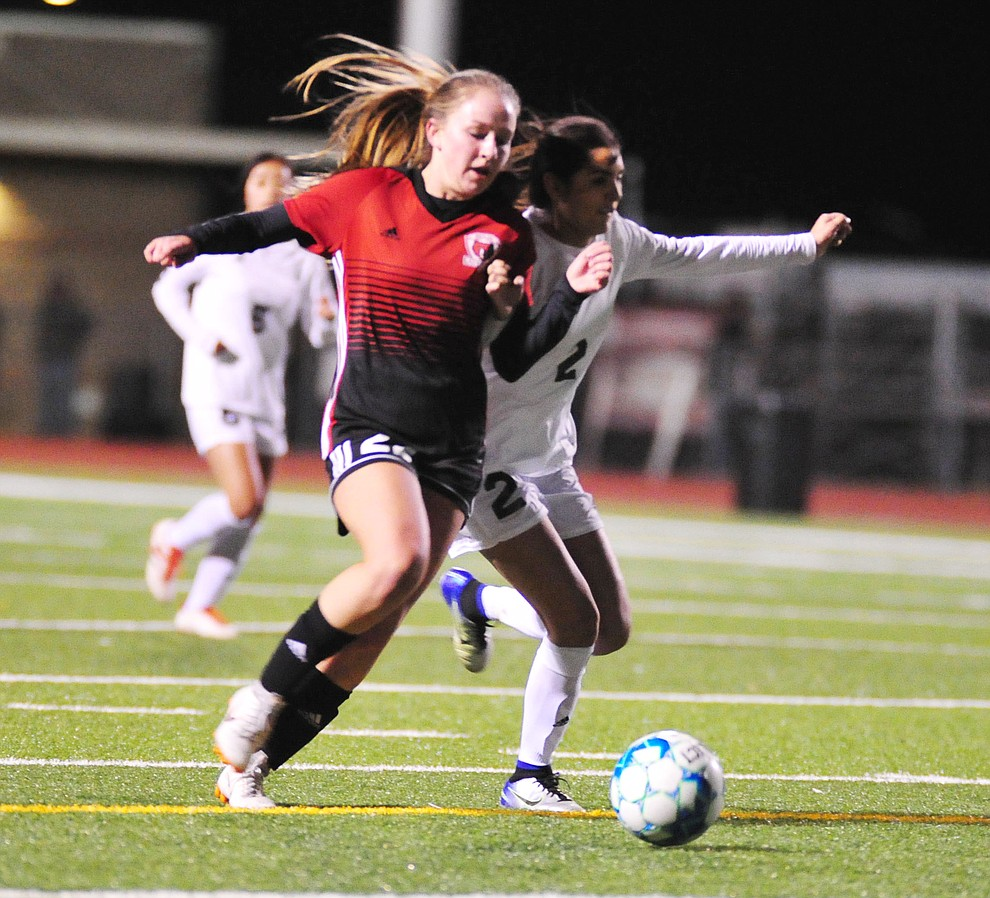Bradshaw Mountain's Hailey Denman drives the ball forward as the Bears host Cortez in girls soccer Wednesday, Dec. 4, 2018 in Prescott Valley. (Les Stukenberg/Courier).