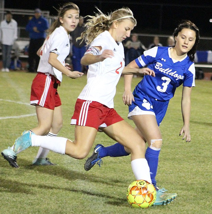 Lee Williams' Kendra Pease (2) assisted Maritza Saucedo's game-winning goal Monday in a 3-2 victory over Kingman High. (Daily Miner file photo)