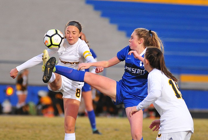 Prescott's Ellie Magnett takes the ball from the air as the Badgers host Saguaro in girls soccer Wednesday, Dec. 4, 2018, in Prescott. The Badgers won 5-0. (Les Stukenberg/Courier)
