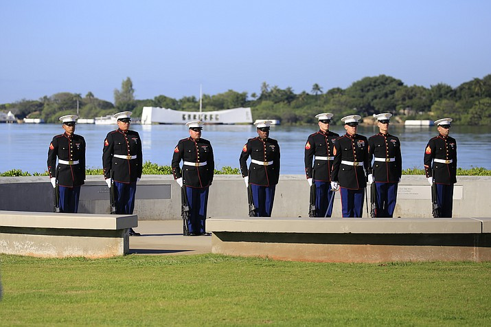 U.S. Marines take part in a previous National Pearl Harbor Remembrance Day Commemoration Ceremony at Pearl Harbor, Hawaii. (Photo/NPS)