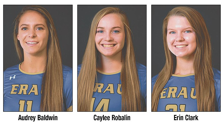 Audrey Baldwin, Caylee Robalin and Erin Clark of Embry-Riddle volleyball were named NAIA All-Americans on Tuesday, Dec. 4, 2018. (ERAU/Courtesy)