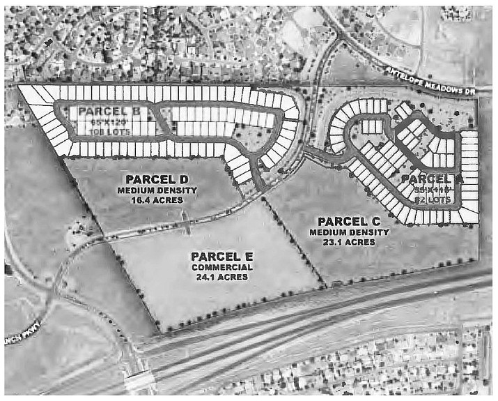 Map of zoning change request at Pronghorn Ranch Parkway south of Antelope Meadows Drive. (Town of Prescott Valley/Courtesy)