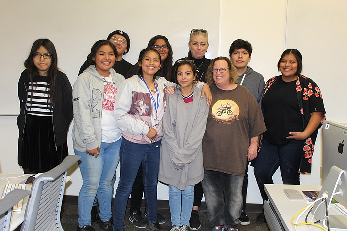 "Hopi High students Cierra Brady, Gabe Fredericks, Tysha Jim, film teacher Anna Thorlaksdottir, Kiiyahno Edgewater, Aubrey Harvey, Katreese Lomayaktewa, Kimmale Anderson, Isabel ""Izzy"" Anzures and Evfa Cerises meet with Scottsdale Community College film staff."