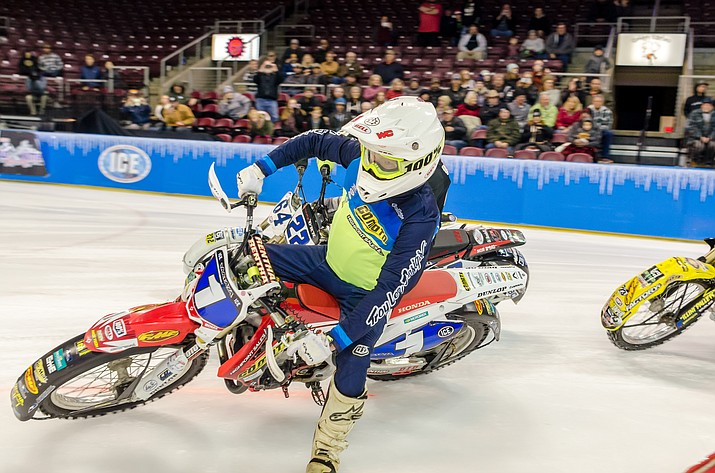 Jake Mataya races towards a second place finish at the World Championship Ice Racing event Saturday, Dec. 1, 2018, at the Prescott Valley Event Center. (Jonathan Barrett/Courtesy)