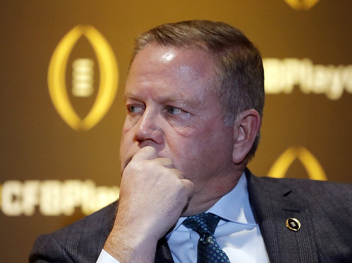 Notre Dame coach Brian Kelly listens during a news conference Thursday, Dec. 6, 2018, in Atlanta. Notre Dame is one of the four teams in the College Football Playoff. (John Bazemore/AP)