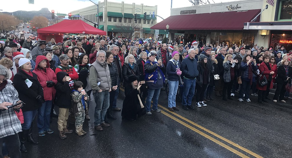 A large crowd gathers for the opening ceremony at the 30th Annual Acker Musical Showcase Friday, Dec. 7, 2018 in downtown Prescott.  (Les Stukenberg/Courier).