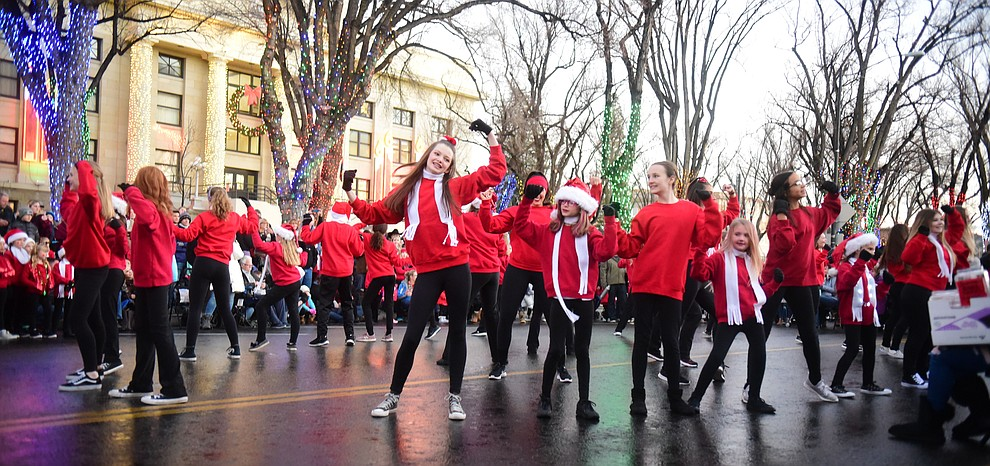 Summer's Dance Studio perform on Montezuma Street during the 30th Annual Acker Musical Showcase Friday, Dec. 7, 2018 in downtown Prescott.  (Les Stukenberg/Courier).