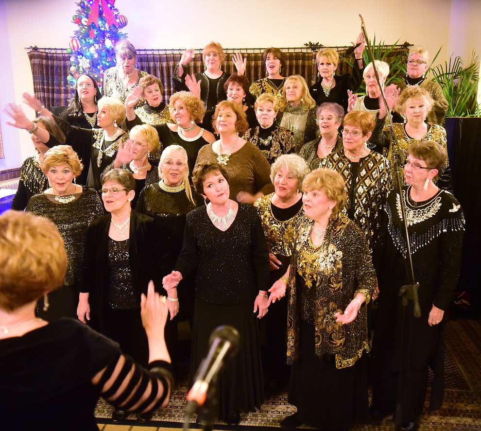 Song of the Pines perform at Hassyampa Inn during the 30th Annual Acker Musical Showcase Friday, Dec. 7, 2018 in downtown Prescott.  (Les Stukenberg/Courier).