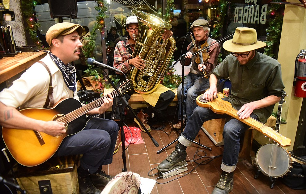 High Strung perform at John Hancock Barbershop during the 30th Annual Acker Musical Showcase Friday, Dec. 7, 2018 in downtown Prescott.  (Les Stukenberg/Courier).