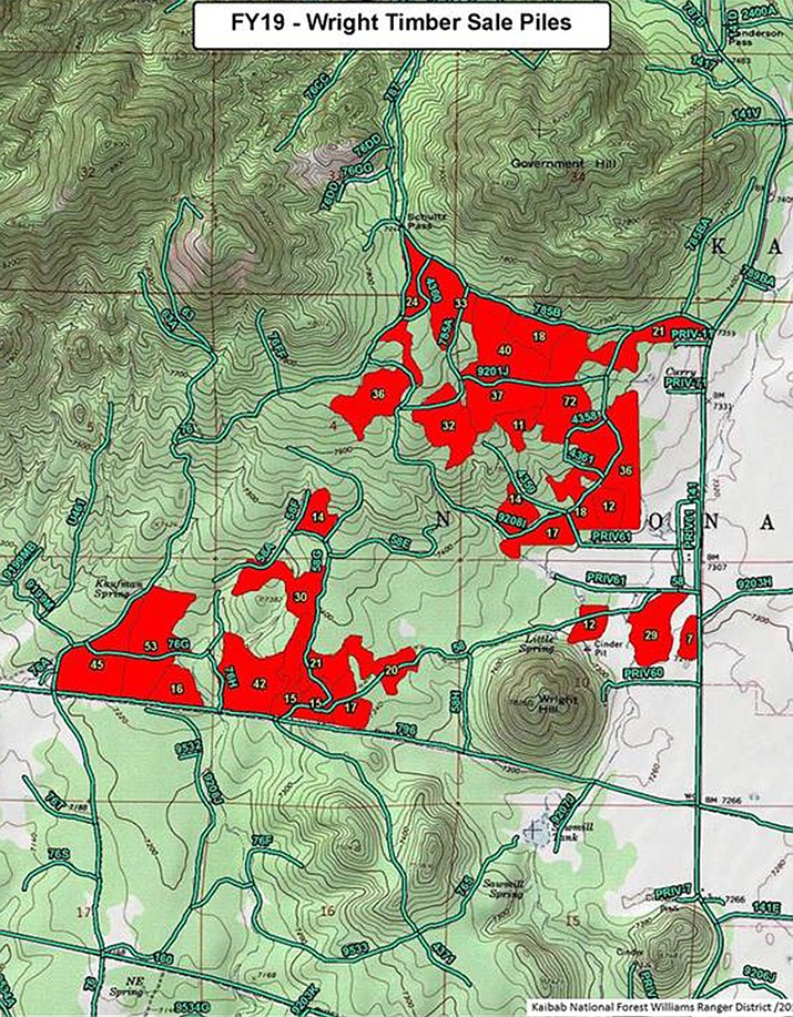 Persistent wet weather has presented favorable opportunities for fire crews to continue burning piles at numerous locations across the Kaibab National Forest today and possibly continuing into next week. (Map/KNF)