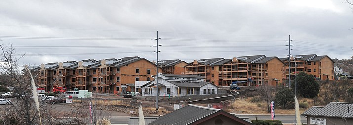 Work continues on the Willow Creek Road apartments Thursday, Dec. 6, 2018, in Prescott, one of three complexes currently under construction. (Les Stukenberg/Courier)