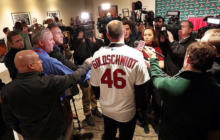The Cardinals' Paul Goldschmidt speaks with reporters  at a news conference, Friday, Dec. 7, 2018, at Busch Stadium in St. Louis. (Robert Cohen/St. Louis Post-Dispatch via AP)