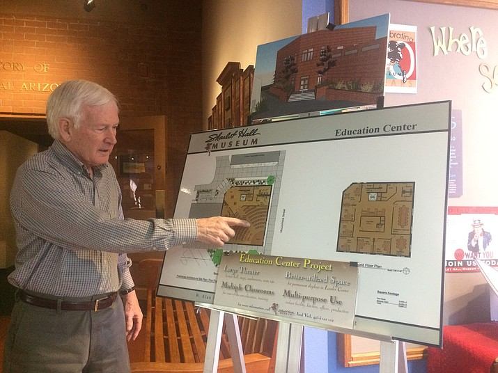 Fred Veil, executive director of Sharlot Hall Museum, points to a construction plan for an upcoming expansion of the Sharlot Hall Museum in Prescott. (Jason Wheeler/Courier)